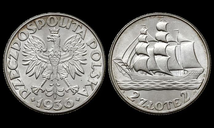 Moneta okolicznościowa II RP. Srebrne dwa złote, żaglowiec. Projekt Józef Aumiller