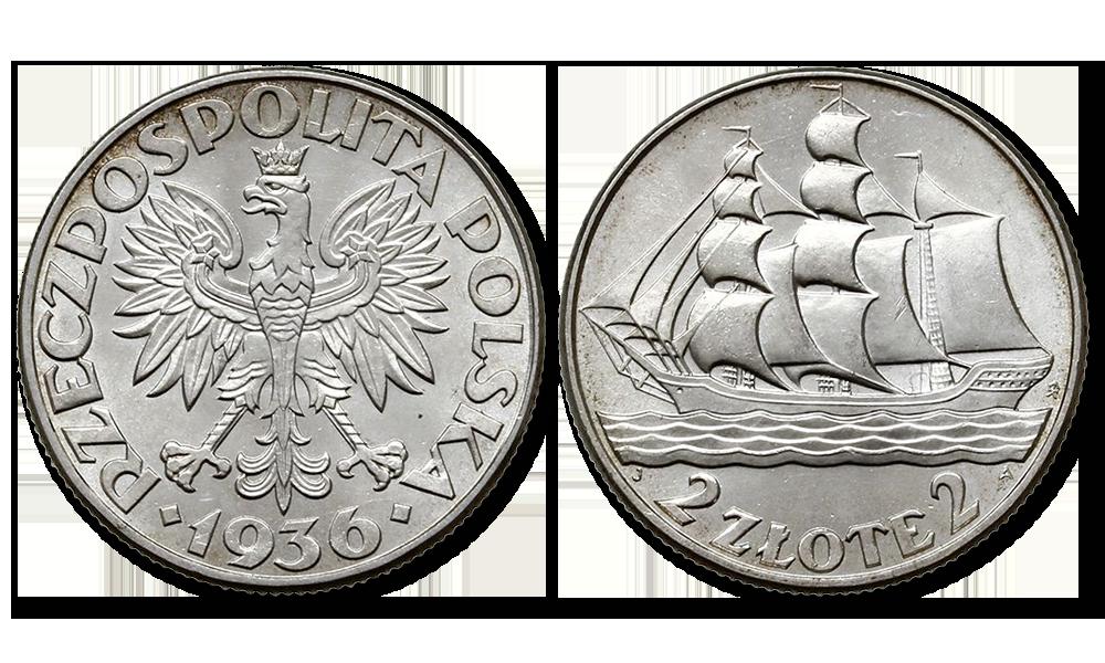 Monety II RP, Żaglowiec - moneta z 1936 roku, zdjęcie z archiwum Skarbnicy Narodowej