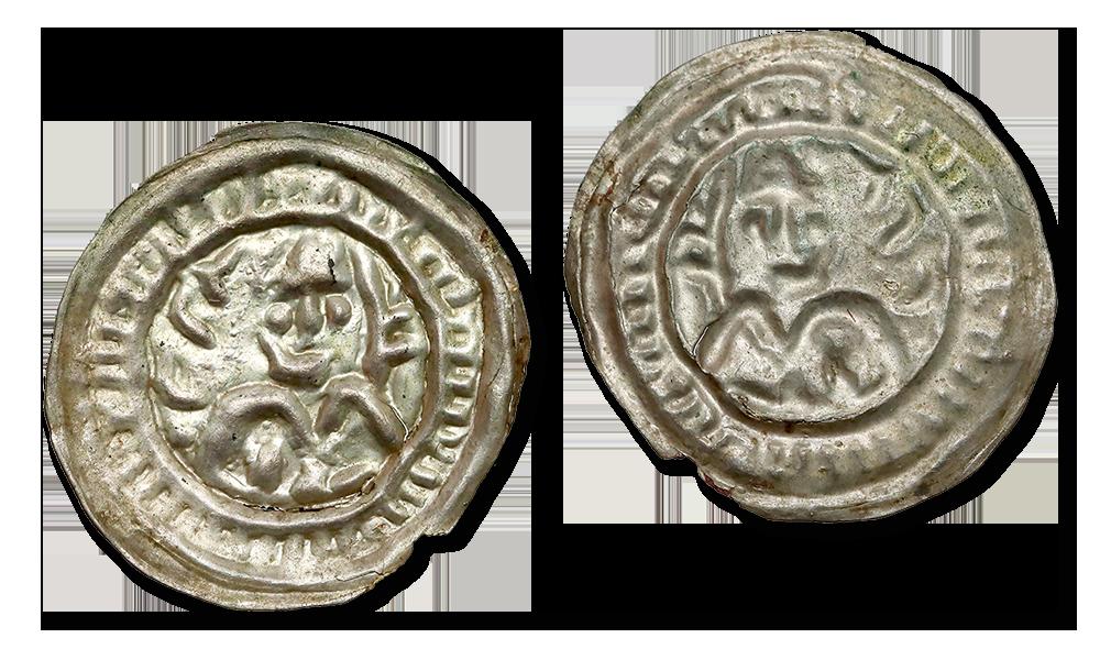 Brakteat hebrajski MIeszka III. Książę z gałązka palmową.
