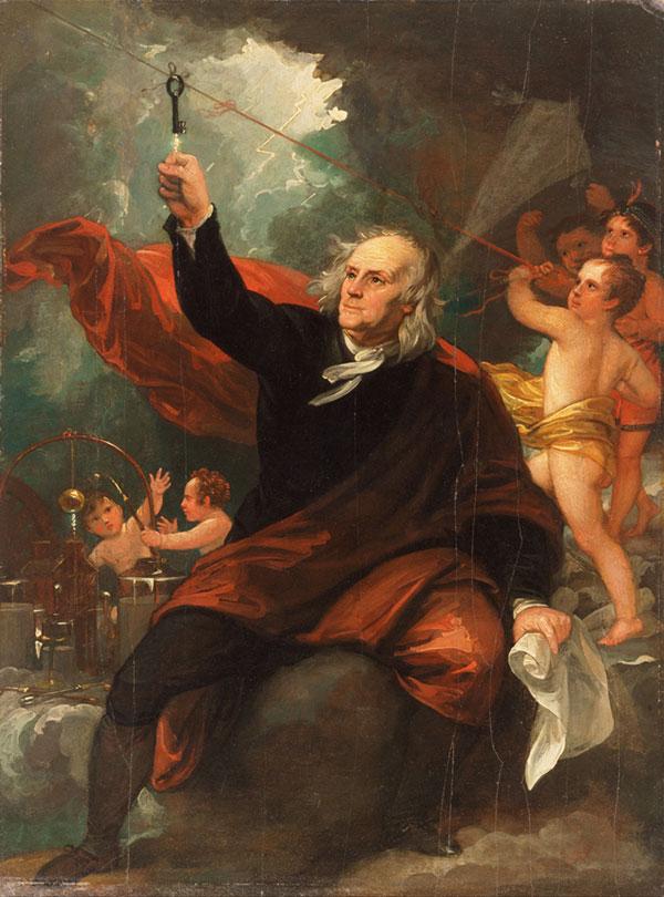 Benjamin Franklin, pobierający elektryczność z nieba, obraz  Benjamina Westa