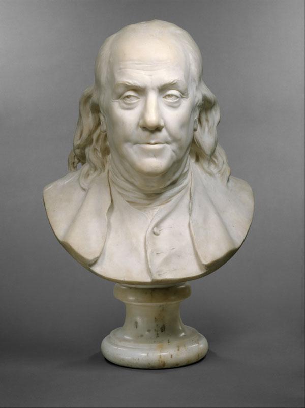 Benjamin Franklin, popiersie Jean Antoine Houdona