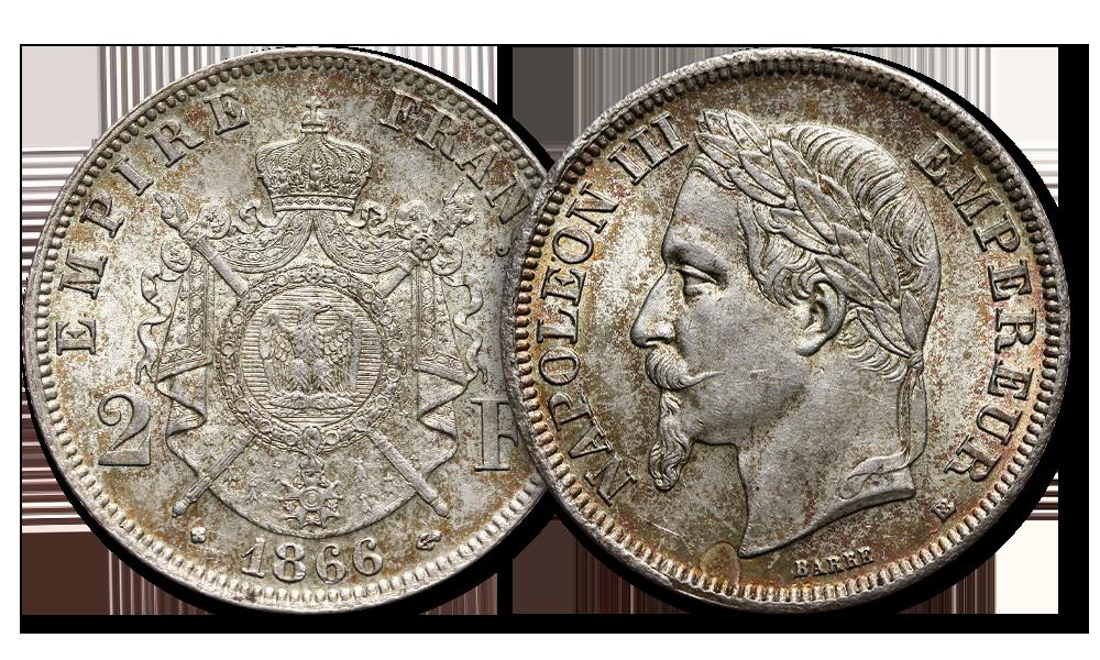 Patyna. Dwa franki Napoleona III z 1866 roku