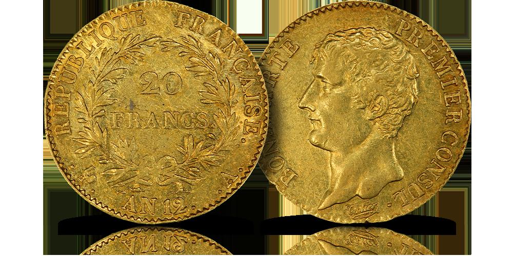 Bonaparte jako pierwszy konsul na złotym franku